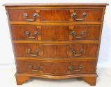 Yew Serpentine Front Georgian Style Chest of Drawers